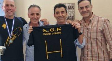 Ο πρόεδρος και ο αντιπρόεδρος του Ήφαιστου πανηγυρίζουν για το ράγκμπι της ΑΕΚ!